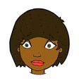 comic cartoon worried female face vector image vector image