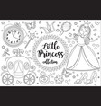 cute little princess cinderella set coloring book vector image vector image