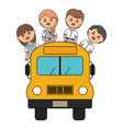 cute little students group with bus vector image vector image