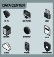 data center color outline isometric icons vector image