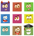 Facial expressions on squares vector image vector image