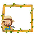 farmer on the wood frame with roots and leaf vector image vector image