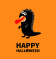 happy halloween dinosaur monster silhouette cute vector image