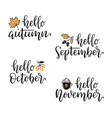hello autumn calligraphy set vector image