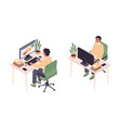 isometric online education man sitting vector image vector image