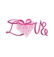 Lace heart on satin ribbon vector image