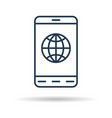 linear icon - smart phone with internet connection vector image