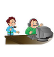 man angrily looking at computer unplugged vector image
