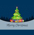 merry christmas decorated christmas tree with vector image vector image