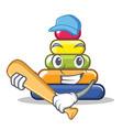 playing baseball pyramid ring character cartoon vector image vector image
