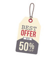 price tag best offer up to 50 off image vector image vector image