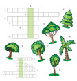 puzzle kids activity sheet - crossword with trees vector image vector image