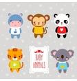 set cartoon animals vector image vector image