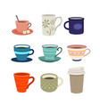 set cups flat design style vector image