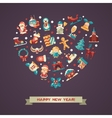 Set of Christmas and Happy New Year flat design vector image vector image