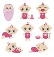 Set of cute baby girls vector image