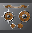 set of realistic wooden shields vector image