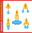 set of rockets for a startup on a white background vector image vector image