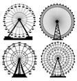 set of silhouettes ferris wheel vector image vector image