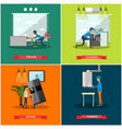 set of workers profession square posters in vector image vector image