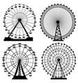 set silhouettes ferris wheel vector image vector image