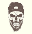 skull with hat and beard vector image vector image