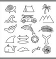 summer beach surf icon set in line art style vector image vector image