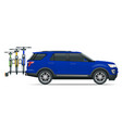suv car is transporting bicycles loaded on the vector image vector image