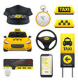 taxi sign elements collection vector image vector image