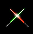 two realistic light swords crossed green and red vector image vector image