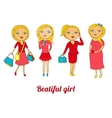 Set of beautiful girls in different roles vector image