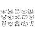 Cute cat heads in hand drawn style vector image