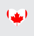 heart in colors and symbols of the canadian flag vector image
