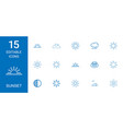 15 sunset icons vector image vector image