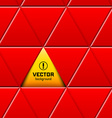 Abstract red triangular pattern with yellow sign vector image vector image