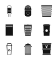 Bin icons set simple style vector image vector image