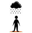 black cloud sad men vector image