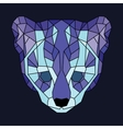 Blue and violet lined low poly ocelot vector image vector image