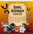Card happy Halloween and inhabitants of the forest vector image vector image