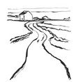 cartoon landscape with road vector image vector image