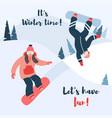 cartoon snowboard couple of vector image