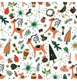 Christmas pattern with deers and trees vector image vector image