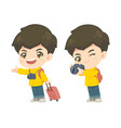 collection cute tourism boy in many pose vector image vector image