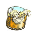 color glass with lemonade and ice cubes vector image