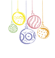 colored charcoal xmas balls vector image vector image