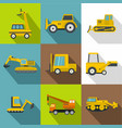 construction vehicles icons set flat style vector image vector image