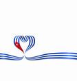 cuban flag heart-shaped ribbon vector image