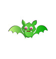 cute funny green cartoon bat on white background vector image vector image