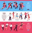 dance horizontal isometric banners vector image vector image