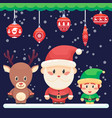 decorated christmas new year card cute santa and vector image vector image